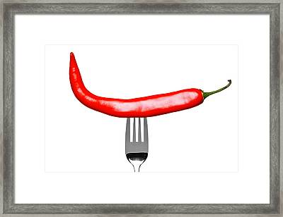 Red Chilli Pepper On A Fork Isolated On White Framed Print