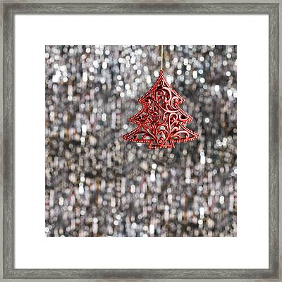 Framed Print featuring the photograph Red Christmas Tree by Ulrich Schade