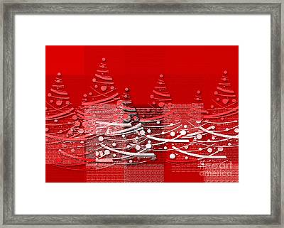 Framed Print featuring the digital art Red Christmas Trees by Aimelle