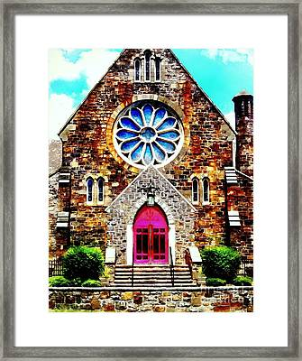 Red Church Door Bethlehem Pa Framed Print by Janine Riley