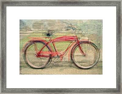 Red Classic Bikes Framed Print by Denis Bouchard
