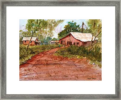 Red Clay Farm - Watercolor Framed Print by Barry Jones