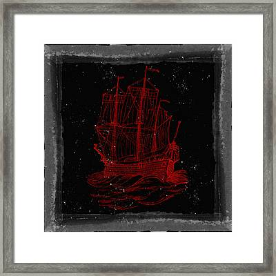 Red Clipper Ship Starry Night Framed Print by Brandi Fitzgerald
