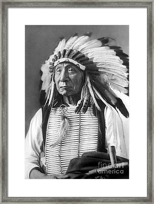 Red Cloud, Dakota Chief, Wearing A Headdress, 1880s Framed Print by David Frances Barry