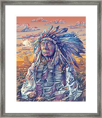 Red Cloud Decorative Portrait Framed Print by Bekim Art