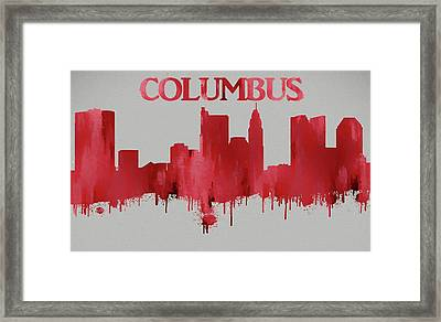 Red Columbus Ohio Skyline Silhouette Framed Print by Dan Sproul