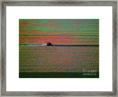 Red Combine Harvesting  Mchenry Aerial Framed Print by Tom Jelen