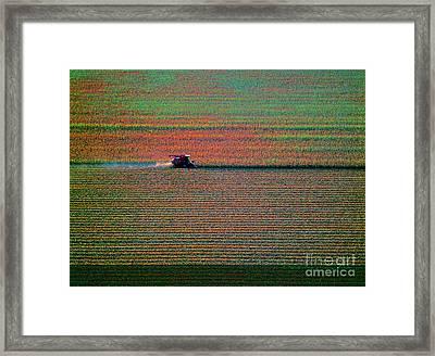 Red Combine Harvesting  Mchenry Aerial Framed Print