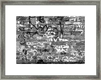 Red Construction Brick Wall And Spray Can Art Signatures Framed Print