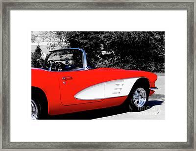 Red Corvette  Framed Print by Steven Digman