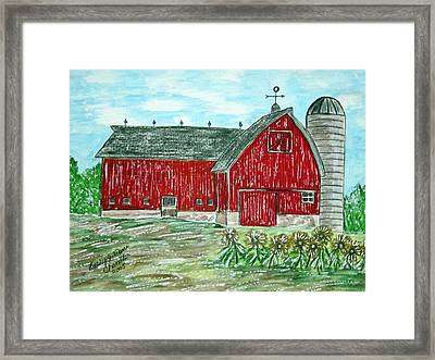 Red Country Barn  Framed Print by Kathy Marrs Chandler