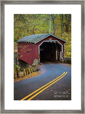 Red Covered Bridge In Lancaster County Park Framed Print