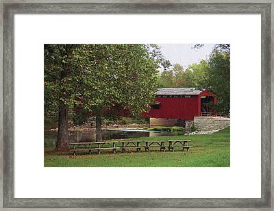 Red Covered Bridge Framed Print
