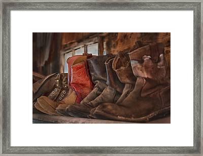 Red Cowboy Boot Framed Print by Janet Ballard