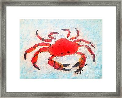 Red Crab - Soft Pastel Coastal Art Framed Print