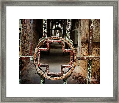Framed Print featuring the photograph Red Cross - Cellblock 3 by Terry Rowe