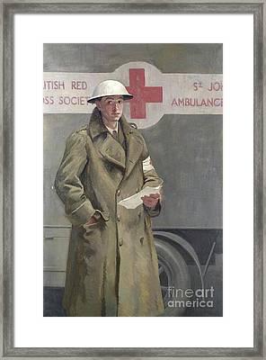 Red Cross Officer In France Framed Print by Hadyn Reynolds Mackery