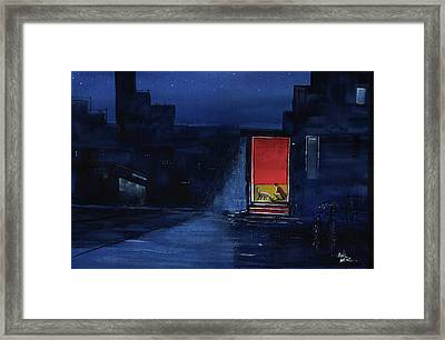 Framed Print featuring the painting Red Curtain by Anil Nene