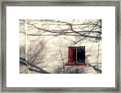 Red Curtain Framed Print by Doug Hockman Photography