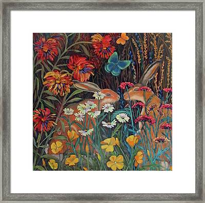 Framed Print featuring the painting Red Dahlia Garden- Dyptich A by Susan  Spohn