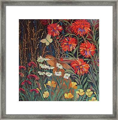 Framed Print featuring the painting Red Dahlia Garden- Dyptich B by Susan  Spohn