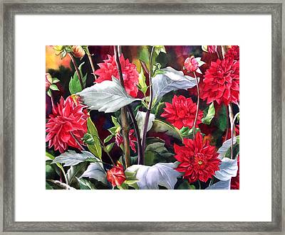 Framed Print featuring the painting Red Dahlias by Alfred Ng