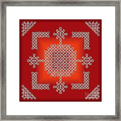 Red Dancing Loops Framed Print by Ojasvi Shambhu