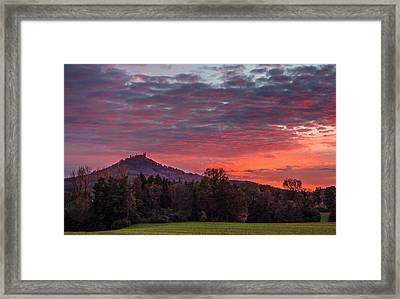 Red Dawn Over The Hohenzollern Castle Framed Print