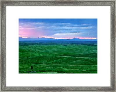 Red Dawn Over The Palouse Framed Print by Mike  Dawson
