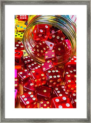 Red Dice Spilling Out Framed Print by Garry Gay