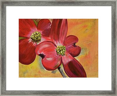 Red Dogwood - Canvas Wine Art Framed Print