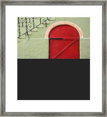 Red Door And Gray Framed Print