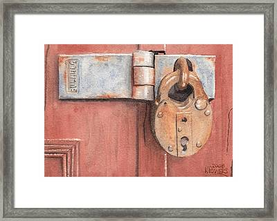 Red Door And Old Lock Framed Print by Ken Powers