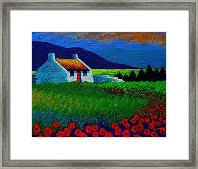 Red Door And Poppies Framed Print by John  Nolan