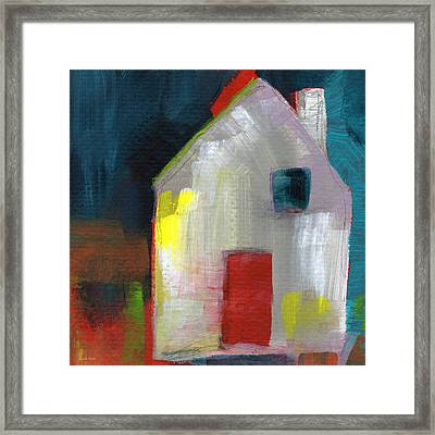 Red Door- Art By Linda Woods Framed Print