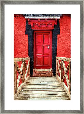 Framed Print featuring the photograph Red Door At A Monastery by Alexey Stiop