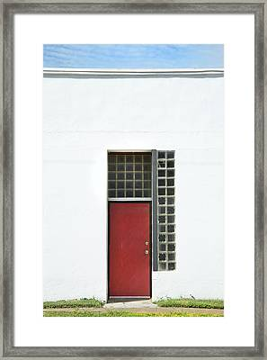 Red Door Blue Sky Green Grass Framed Print
