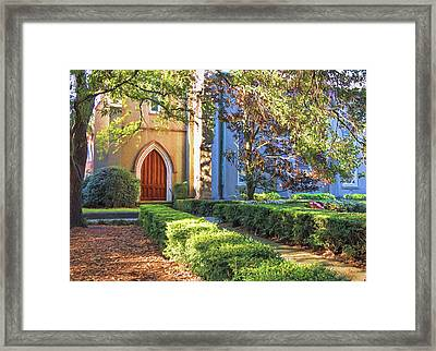 Framed Print featuring the photograph Red Door Church by Kim Hojnacki