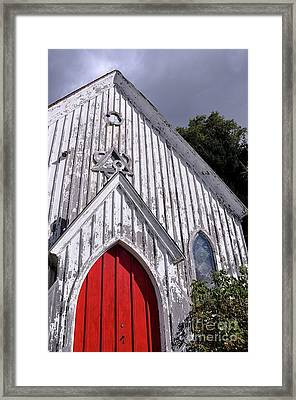 Red Door Framed Print by Gina Savage