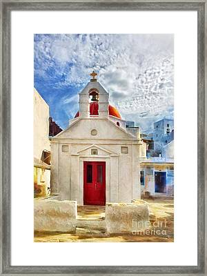 Red Door Framed Print by HD Connelly