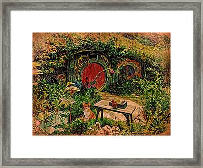 Framed Print featuring the digital art Red Door Hobbit House With Corgi by Kathy Kelly