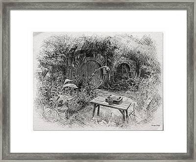 Red Door Hobbit Illustration Framed Print