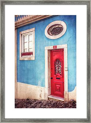 Red Door In Lisbon  Framed Print