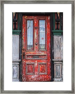 Red Door In Portsmouth Nh Framed Print by Nancy De Flon