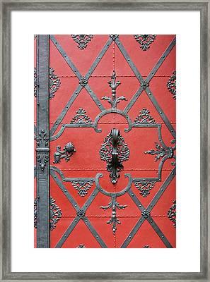 Framed Print featuring the photograph Red Door In Prague - Czech Republic by Melanie Alexandra Price