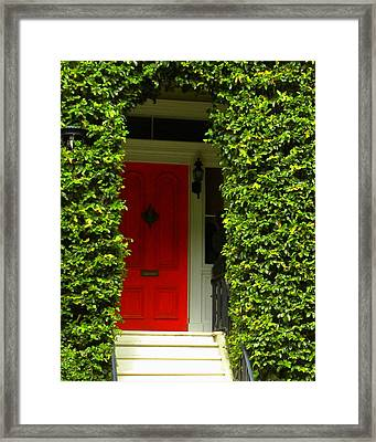 Red Door Framed Print by Kim Zwick