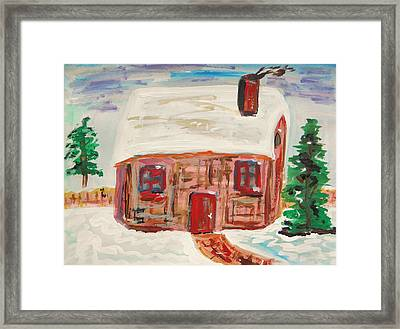 Red Door Snow House Framed Print by Mary Carol Williams