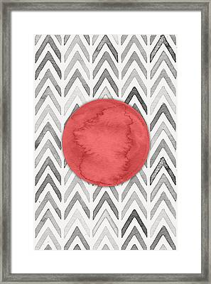 Red Dot On Chevron Watercolor Pattern  Framed Print by Nordic Print Studio