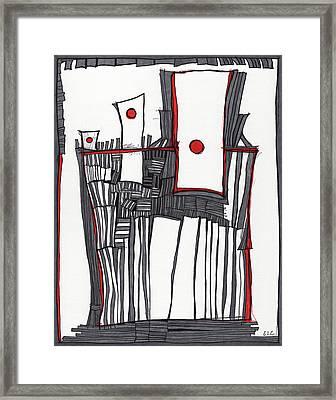 Red Dot Village Framed Print by Sandra Church