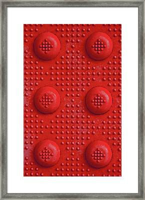 Red Dots Industrial Portrait Framed Print by Tony Grider